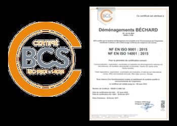 Société de déménagement certifiée BCS ISO 9001 - 14001